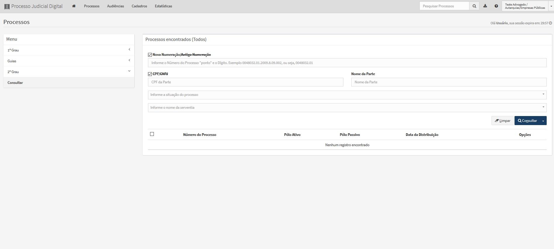 A imagem mostra a tela de consulta de processos, com campos de preenchimento para pesquisa.
