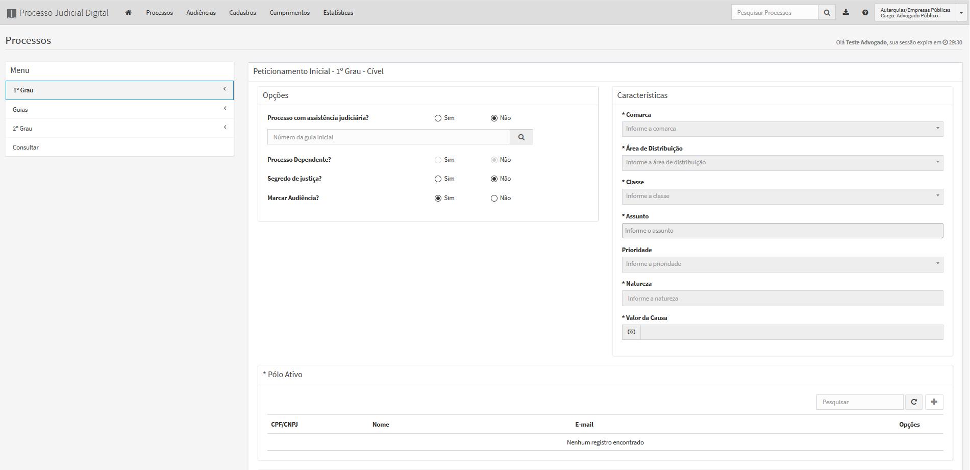 A imagem mostra a parte superior da tela de peticionamento inicial do primeiro grau cível.