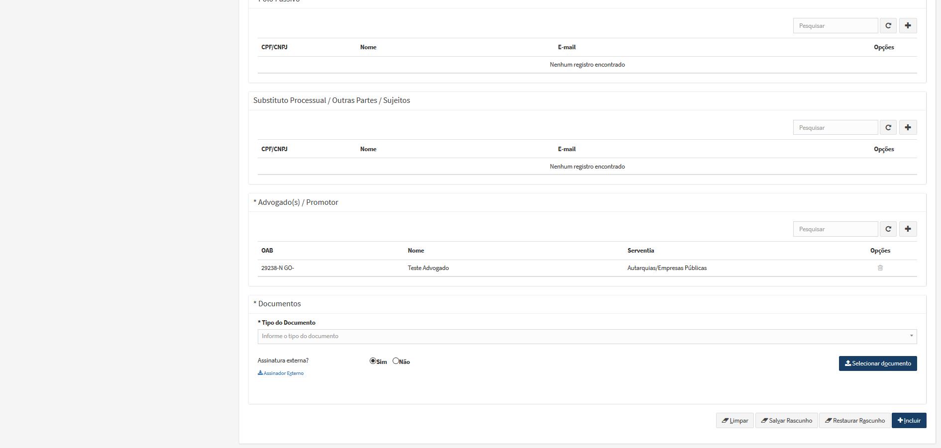 A imagem mostra a parte inferior da tela de peticionamento inicial de processos de segundo grau cível