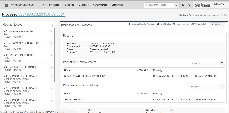 A imagem mostra a tela da capa do processo aberta por meio da tela peticionar