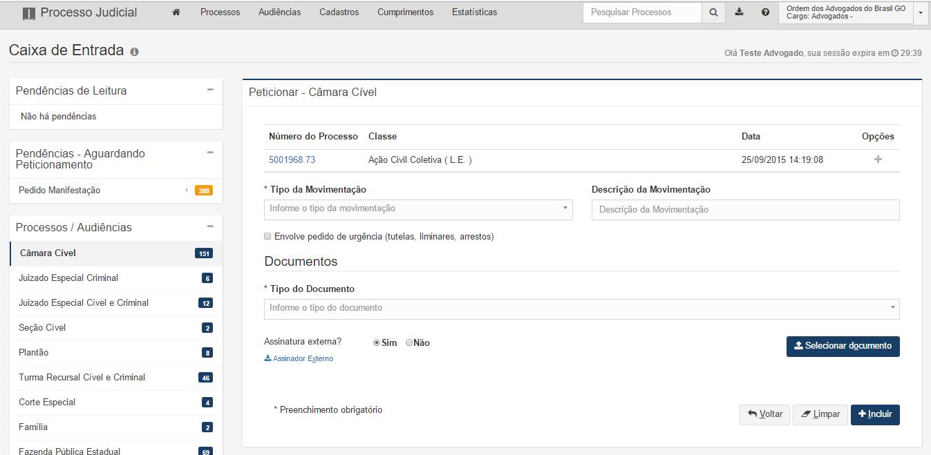 A imagem mostra a tela de peticionamento da câmara Cível aberta.