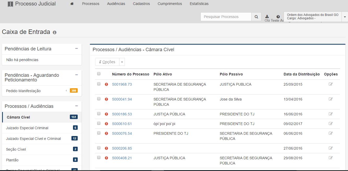 A imagem mostra a caixa de entrada com a lista de Processos/Audiências aberta