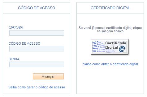 Imagem dos campos de acesso e do ícone do e-CAC
