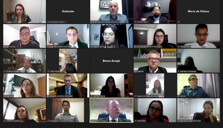 Estagiários que vão atuar no Núcleo de Aceleração de Julgamentos e de Cumprimento de Metas participam de capacitação on-line